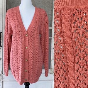 Vintage Land's End Pink Chunky Cable Knit Cardigan